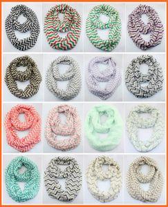 Kostenlose UPS Schiff Frau Zickzack Chevron Wave Print Schal Kreis Loop Cowl Infinity Schals Damen Schals Voile Multi Farbdruck gewebt Schal