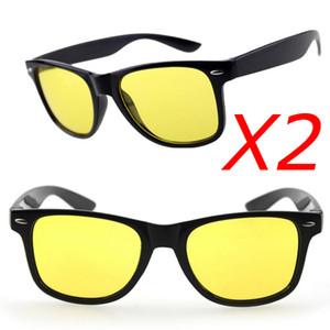 Großhandels-2pcs / lot, Sport-Glas-Mann-treibende Sonnenbrille-Gelb-Linsen-Nachtsicht-treibende Gläser verringern Glare-Schutzbrillen oculos de sol