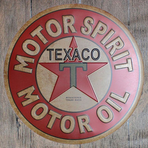 Motor Spirit Oil Texaco Round Retro Embossed Tin Sign Poster Wall Bar Restaurant Garage Pub Coffee Home Decor Christmas Gift