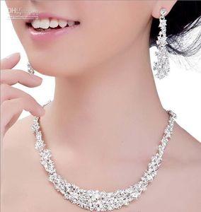 2019 Best Selling Brilhante Brilhante Cristal de Cristal Casamento Nupcial Conjuntos de Jóias Rhinestone Allloy Colar e Brincos 2-Piece