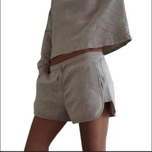 9073 # Sudaderas cortas y sección corta 2017 verano, 2 piezas, moda, camisa de manga larga y pantalones cortos deportivos, traje