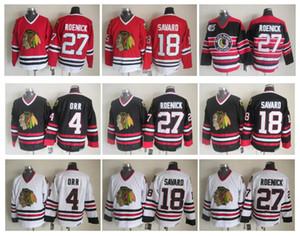 Camisola de hóquei de Chicago Blackhawks 4 Bobby Orr 18 Denis Savard 27 Camisas de 100% Costurado CCM autêntica de Jeremy Roenick Vintage