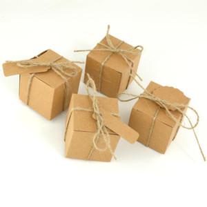 5 * 5 * 5cm Brown Kraft scatola di carta con la corda e Tag di caramella di festa favore di cerimonia nuziale \ lotto Scatole Scatole regalo 200pcs