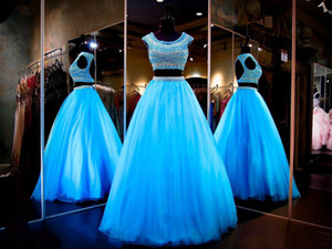 2019 Fasion Long Blue Prom Dresses 2 Pieces Cap Sleeve Backless Beading Pearls Tulle A-Line Party Gowns Custom Made P189