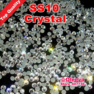 Free shippping ! Best Quality Hot Fix Rhinestone,Better Shiny,Hotfix Stones Crystal White Clear ss10 10gross bag With Glue Y2867