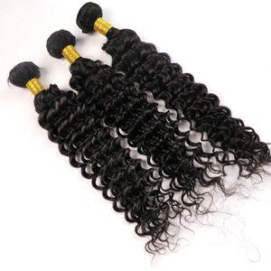 El pelo virginal brasileño teje Paquetes de cabello humano Ondas profundas Rizado Tramas 8 ~ 34 pulgadas Sin procesar Peruano Malayo mongol extensiones de cabello