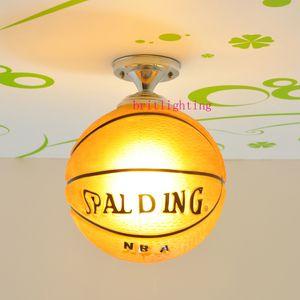 مصابيح السقف الحديثة مصابيح الأطفال للبنين بنات غرف النوم مصابيح bastketball للأطفال إضاءة على ضوء السقف الزجاجي الكرة بينتيريست