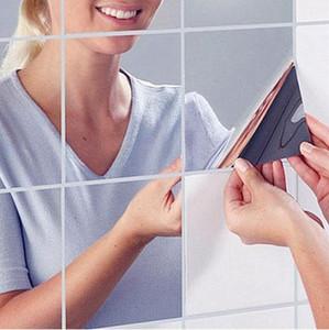 Nouvelle Arrivée Haute Qualité 9 Pcs Carré Miroir Carré Stickers Muraux 3D Decal Home Room Décoration DIY Pour Le Salon Porche