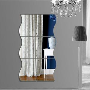 Grandes Ondas Em Forma de Espelho Adesivos De Parede De Cristal Diy adesivo de Parede Removível Decalques De Parede De Vinil Home Decor 3D Espelho Adesivos Para O Banheiro