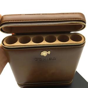 Nuevo y hermoso estilo retro COHIBA cremallera de cuero marrón bolsa de viaje cigarro Humidor 6 tubo titular de cigarro