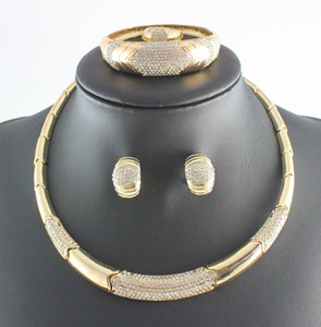 Mode Kostüm Kristall Halskette Armband Ohrringe Ring Dubai Gold Überzogene Hochzeit Afrikanische Schmuck Sets