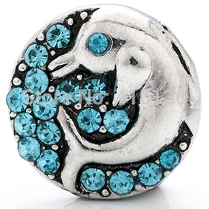 Wholesale-NSB1263 Hot Sale Snap Buttons Jewelry For Bracelet Necklace Fashion DIY Jewelry Sky Blue Rhinestone Dolphin Snaps
