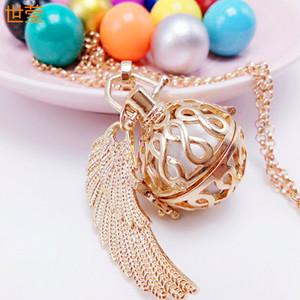 Filigrane Infinity Cage Pendentif Collier Or 18 carats Boule de carillon Éducation prénatale Bébé Caller Harmony Ball Collier de grossesse