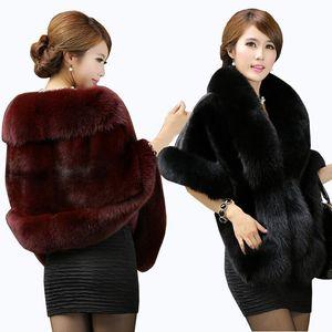 Luxurious Faux Fur Bridal Shawl Fur Wraps Marriage Shrug Coat Bride Winter Wedding Party Boleros Jacket Cloak Burgundy Black White Red