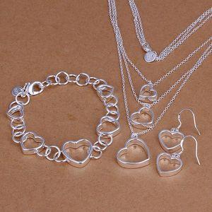 Forma de coração vazio 31g conjunto de jóias de prata esterlina placa fit mulheres S79.925 colar de prata pulseira pandent brinco, atacado varejo