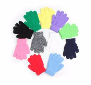 Invierno lindo niños niñas guantes dedo del dedo del color sólido estiramiento punto mitones guantes para niños que hacen punto guante caliente niños niños niñas mitones