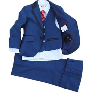 Super cute baby clothes small suit boy latest flower girl dress suit blue fashionable formal dress for boy (jacket+pants+vest)