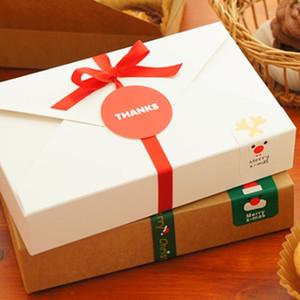 هدية الزفاف البني كرافت وصناديق كعكة ورقة بيضاء والتعبئة والتغليف نوع ENVELOPE للحاوية الغذاء
