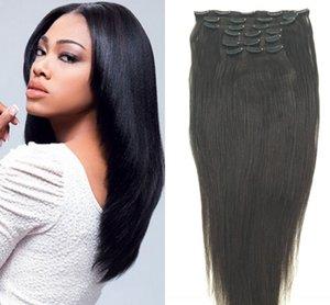 Sin procesar Virgen Clip de Malasia En Yaki Extensiones de cabello recto Italiano Yaki Weave Natural Cabello humano Yaki grueso Clip Ins