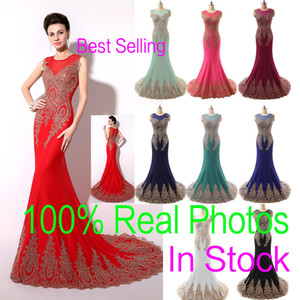 In magazzino Sheer Neck Formal Evening Prom Dresses Appliques in pizzo Mermaid Red Black Blue Mint Pageant Mother Gown 2019 Immagine reale Arabo