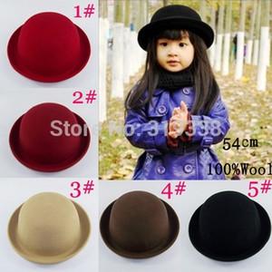 Vendita al dettaglio Cappello bambina fedora Cappello cupola Cappelli per bambini Cappelli per bambini Cappelli in feltro di lana Infeltrimento Cappello a bombetta BH176