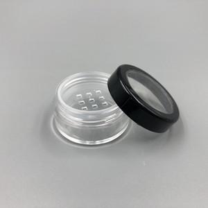 5 ML 5G Ile Taşınabilir Boş Temizle Makyaj Toz Konteyner Elek ve Siyah Vida Kapaklı 10G Gevşek Toz Kavanoz Pot Kutusu Kasa