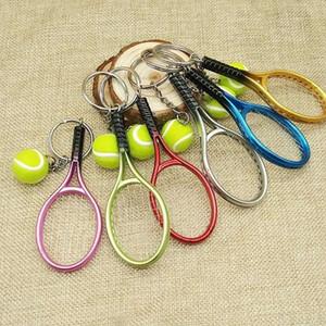 Colorido Mini pelota de tenis y raqueta Llavero Llaveros de aleación de zinc Estilo deportivo Novedad Regalos promocionales de alta calidad