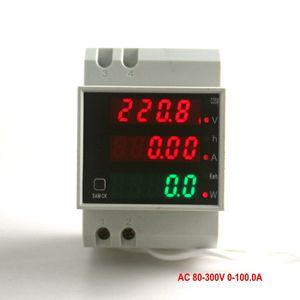 Din Rail Dupla Dupla LED Amperímetro Voltímetro AC 80-300V 0-100.0Avoltage Corrente Fator de Energia Energia de Potência