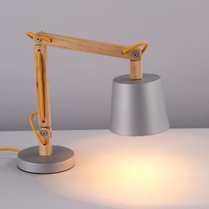 Простой Ретро Деревянного Кабинет Настольной лампы Креативного Reading Спальни Настольных лампы прикроватного исследование стол свет