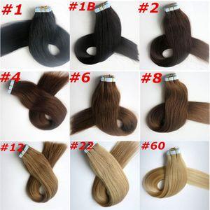 100g 40pcs goma de piel cinta de trama en extensiones de cabello 18 20 22 24inch indio brasileño Extensiones de cabello humano