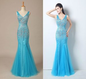 2020 Elegant Mermaid Backless Formal Evening Dresses V-Neck Floor-Length With Beads Crystal Long Real Image Party Prom Pageant Dress