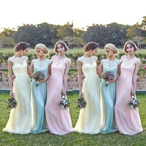 2016 горничная Jonor младший невесты Платья вечернее платье Sheer линии шапкой кружева топ шифон розовый Мята длина пола