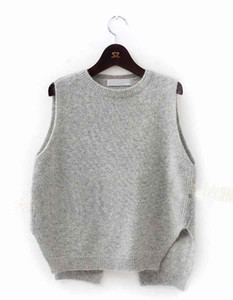 Wholesale-2015 New Cashmere Knit Vest Women Loose Plus Size O-Neck Pullover Sweater Vest Female Waistcoat Jacket