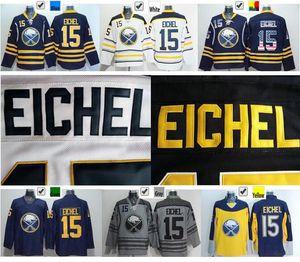 2016 Nuovo, Cheap Buffalo Sabres # 15 Jack Eichel Jersey Team Blu Away Bianco Giallo Jersey cucito Blu USA Flag Fashion Jerse
