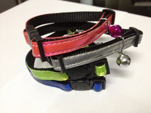Free shipping pet cat reflective safety collar breakaway buckle with bell factory price four colors 20pcs lot