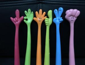 6 unids / lote gestos geniales bolígrafos de modelado creativo Kawaii dedos modelado pluma de escritura suministros escolares regalo de navidad