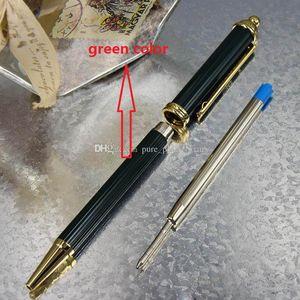 lujo patern Pen Metal Crown Towers cabeza verde estilo de dibujo Golden Clip bolígrafo para la oficina de negocios de la escuela