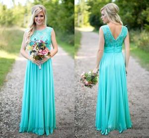Nuevos vestidos de dama de honor baratos elegantes Escote redondo Gasa Hasta el suelo Encaje V Sin espalda Vestidos largos de dama para boda BA1513 CPS574