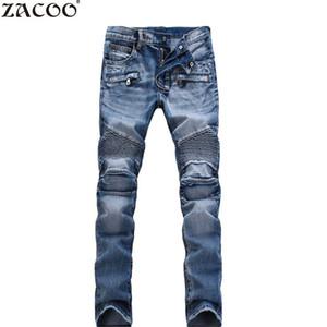 Vente en gros - ZACOO 2017 Hommes Jeans Casual Denim Pants Classique Whiskering Droite Jeans Masculina Male Denim Pantalon Coton