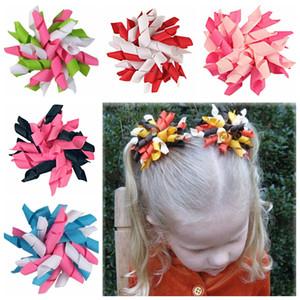 """rolinhos de 30pcs Crianças fita encaracolado arcos de cabelo flores de clipe de 3,5 """"de cabelo corker presilhas korker fita grampo de cabelo do bebê acessórios crianças PD007"""