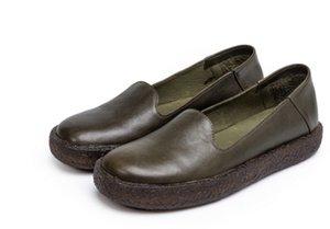 venta al por mayor de envío de la gota mujeres de cuero genuino pisos de cuero hechos a mano se deslizan en zapatos zapatos de barco marrón verde size35-40