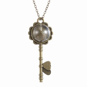 "Fashion Vintage Retro Jewelry Necklaces Dried Dandelion Seed Glass Locket Key Pendant Necklace with 22"" Rolo Chain 156N37"