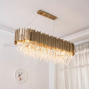 BE160 Nordic современный творческий утюг золото Вилла хрустальные люстры гостиная лампа огни роскошный круговой / эллипс подвесные светильники Освещение