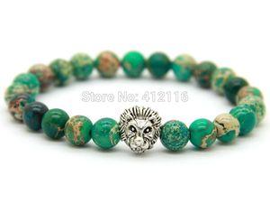 2015 Venda Quente Mens Jóias Por Atacado Novo Design 8mm Verde Mar Sedimento Pedra Beads Antique Silver Lion Pulseiras, Presente do partido