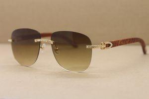 Envío gratuito marcos de los vidrios de las mujeres calientes hombres Samll diamante 8300680 Gafas de sol unisex de los vidrios de talla de madera ovalada gafas de sol Tamaño: 53-18-135mm