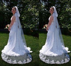 2 Layers Wedding Veil with Lace Edge Cover Face Blusher Chapel Bridal Veil with Comb Wedding Accessories T-55