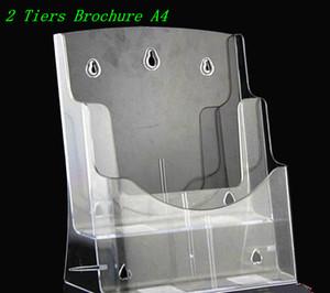 Brochure in formato A4 a due livelli per brochure pieghevole in plastica per espositori per desktop