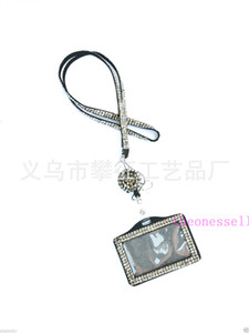 200pcs Bling Lanyard Crystal Rhinestone in Neck With Claw Clasp ID Badge Holder with Retractable Reel with job card