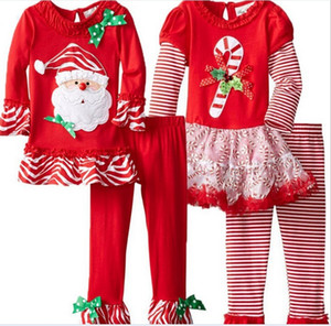 New Year Christmas Cartoon Outfits Girls Clothing Sets Elk Snowman Santa Claus Long Sleeve T Shirt and Cotton Pants 2pc Set K5508