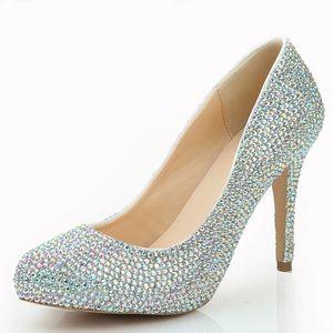 Fahion 여자 라인 석 나이트 클럽 신발 AB 컬러 크리스탈 파티 펌프 4 인치 높은 뒤꿈치 결혼식 신발 파티 프롬 펌프